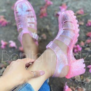 Pink Glitter Caged Gladiator Jelly PVC Sandal